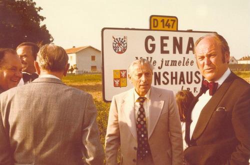 Heinz Straube (Mitte) und Bgm. Knierim (rechts) in Genas